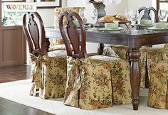 Sure Fit Slipcovers Bridgewater Floral By Waverly™ Dining Chair Skirt    Short Version Would Be
