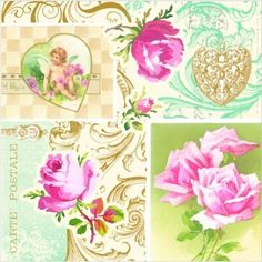 6x Cocktail 25x25cm Paper Napkins for Decoupage Party Craft Small Roses