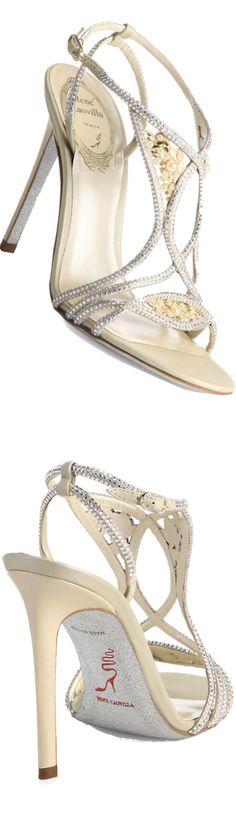 Rene Caovilla Newport Strass Crystal, Faux Pearl & Metallic Leather Crisscross Sandals