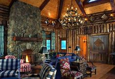 Rustic stone fireplace and vertical logs, different!!