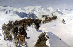 Painted by Franz Roubaud - Crossing of the Caucasus mountains by the Knyaz (Prince) Argutinskiy