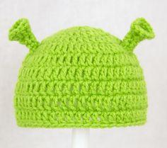Shrek Hat, Green Ogre Crochet Beanie, Send size baby - adu | CutieHats - Accessories on ArtFire