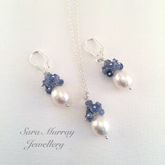 Blue Kyanite and white pearl pendent and earring set with sterling silver lever backs, classic, special occasion jewellery.