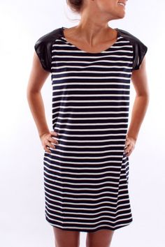 Nautical Mile Striped Dress with a Pleather Sleeve only $49 SHOP: http://www.jeanjail.com.au/ladies/nautical-mile-dress-navy.html