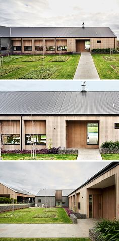 Upon arriving at this modern ranch-inspired house, there's a path that leads you to the front door, while a garden has planted trees and small gabion walls. #ModernHouse #Landscaping