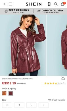 Drawstring Waist Faux Leather Coat  Shop from shein
