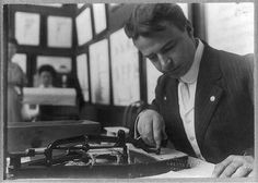 """#CensusHistory A U.S. Census Bureau clerk uses a pantograph (ca. 1908) to translate data on a census schedule to a punch card.  The punch cards were """"read"""" by the electronic tabulators developed by Herman Hollerith for the 1890 Census. Learn more at http://www.census.gov/history/"""