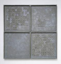 Magnet Boards :: Eva Hesse (1967) Sculp-metal, wood, magnets 61 x 61 x 5.1 cm Des Moines Art Center