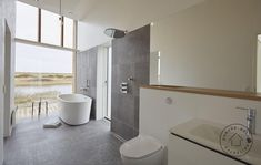 I really love this enchanting stone bathroom Wood Stair Treads, Wood Stairs, Large Shower, Shower Tub, Open Showers, Stone Bathroom, Wood Cladding, Open Space Living, Slate Flooring