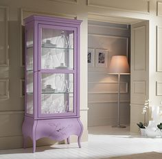I just might paint my cabinet! Pink Furniture, Furniture Update, Furniture Making, Cool Furniture, Painted Furniture, Painted Curio Cabinets, Glass Cabinets, Purple Cabinets, Muebles Living