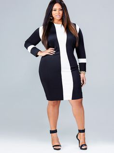 """I changed my mind!  THIS IS MY NEW MUST HAVE!  Ordering tomorrow!  Gold Accessories... Pop of colour in the shoe... """"MARCIE"""" COLORBLOCK DRESS - BLACK/IVORY"""