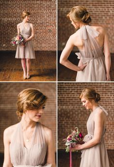 Jenny Yoo halter bridesmaid dress - bridesmaid inspiration - dress texture, colour, hair