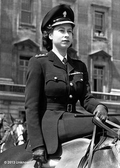 Dita Von Teese's photo: Behold this incredible  c.1947 image of Queen Elizabeth II riding side-saddle in uniform: