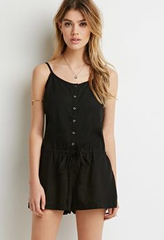Button-Front Drawstring Romper | Forever 21 - 2000133244