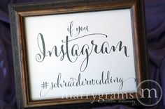 Wedding Reception Instagram Sign - Social Media Wedding Sign - #tag Hashtag Sign - Matching Table Numbers Available  SS07