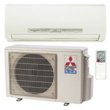 Mitsubishi ductless heating and cooling system outside