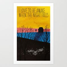 WHEN THE NIGHT FALLS ,  Art Print by JANINE GERBER - $20.00 Artsy, Art Prints, Night, Fall, Autumn, Art Print