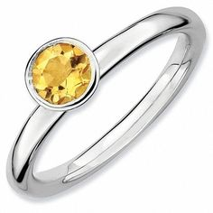 #Valentines #AdoreWe #Zales - #Zales Stackable Expressions™ Citrine Solitaire High Profile Ring in Sterling Silver - AdoreWe.com