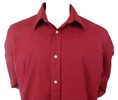 Express Design Studios Shirt Size XL Casual Button Front Long Sleeve Red Striped #ExpressDesignStudios #ButtonFront