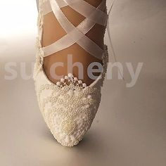 4ea407ed White / ivory pearls lace crystal Wedding shoes flat ballet Bridal size  5-12 Buty