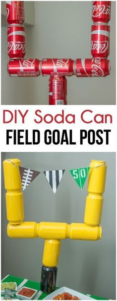 Love the idea of using empty soda cans to make a field goal post, perfect for Super Bowl party decorations! #ad