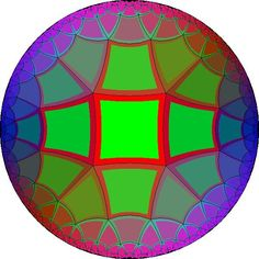 """Square tiles, 5 at each corner: The Poincare circle lives in hyperbolic geometry, where we can make five """"squares"""" (in the new geometry) meet at a single point."""