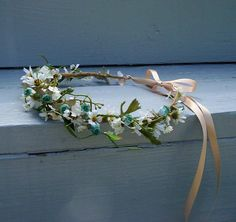 Music festival hairwreath Boho summer flower crown -Julie- Wild Daisies  bridal headpiece Wedding accessories artificial headdress Rave via Etsy