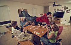 https://flic.kr/p/9PbJnx   150/365  Levitation VI: Card Game   150/365  This was so much fun to do. My family has been asking about my levitation pictures and wanted to be in one/have a levitating picture of their own. We were playing cards and this idea was born. Clockwise it's: grandma, grandpa, brother, sister, mom. I wanted to focus on each person to get their expressions how I liked them, so I shot each person individually and composited them together. My sister kind of got cut off…