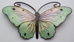 Norway-OLAF-F-HJORTDAHL-Sterling-Silver-Enamel-Large-BUTTERFLY-Brooch-Pin