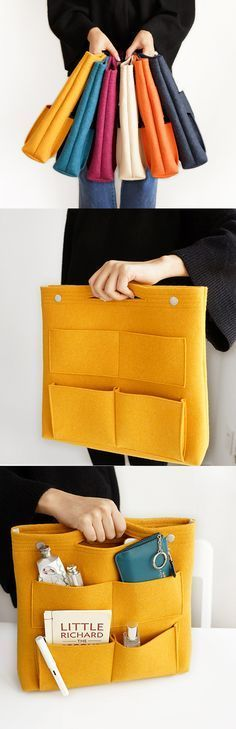 Woah! Transform any tote bag with the Long Felt Purse Organizer! It's made of sturdy felt that's resistant to pilling. It features 8 pockets on the outside and 9 extra pockets inside. The pockets come in a variety of sizes. Organize everything from makeup