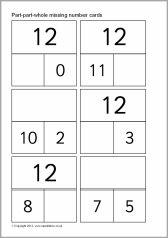 ontbrekende getal kaarten tot 20
