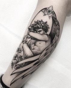 Piercings and Tattoos - Dark Angel Tattoo Aesthetic Tattoo, Body Art Tattoos, Tattoos, Greek Tattoos, Mythology Tattoos, Badass Tattoos, Statue Tattoo, Beautiful Tattoos, Piercing Tattoo