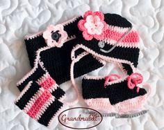 BABY HOCKEY GIRLS Hat Helmet with Flower and Grey by Grandmabilt, $85.00