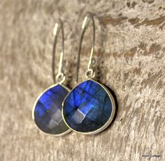 Labradorite Faceted Drops  Sterling Silver by AcornCottageDesigns