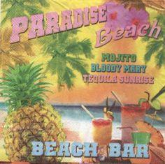 Serviette papier motifs divers : Serviette papier cocktail Beach de 33 cm X 33 cm 3 plis. http://fournitures-loisirs.les-creatifs.com/serviettes.php?refer=Cocktail-beach pour la décoration de table ou autres objets à décorer.