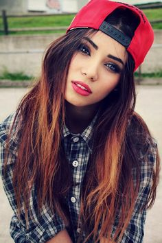 Red Hat - Ombre Hair - Plaid Shirt