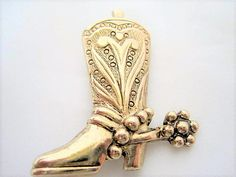 Excited to share the latest addition to my #etsy shop: Cowboy Boot Brooch - Western Pin - 70's Gold Tone Boot - Boot with Spurs