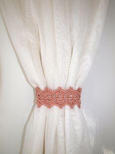 Tan curtain holdback Crochet curtain ties Curtain tie backs Curtain tiebacks Curtain holders Set of 2 Pair of brown curtain tie back by CrochetedCosiness on Etsy