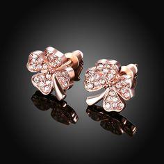dfb57b638 Trendy Rose Gold Plated Plant Rhinestone Stud Earrings for Women GPSE001 4  Women's Earrings, Wedding