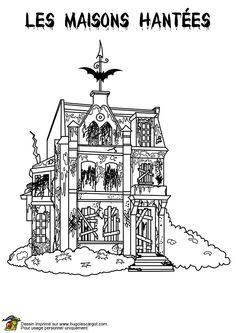 Image d'une maison hantée toute délabrée, à colorier.