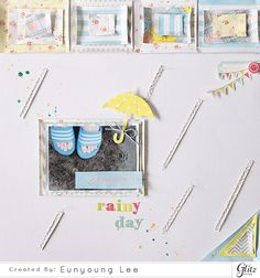 happy rainy day - Scrapbook.com - Super sweet stitched pieces for this layout using Glitz Design Brightside and Felicity.