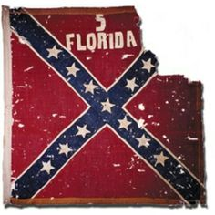 Battle flag of the 5th Florida Infantry Regiment.  The 5th Florida Infantry Regiment served in E.A. Perry's Florida Brigade alongside the 2nd and 8th Florida. Perry's Brigade served under Anderson's Division of Longstreet's First Corps, of the Army of Northern Virginia.