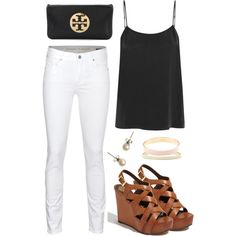 Brown, black, white. Neutral perfection. LOVE the wedges.