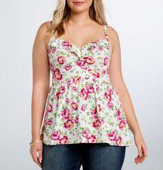 TORRID NWT Womens PLUS Size 1 1X 14 16 White Floral Print Babydoll Tank Top NEW #Torrid #TankCami #Casual