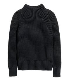 Men's collection AW15. Chunky rib-knit sweater in a cotton blend with long raglan sleeves and a mock turtleneck.