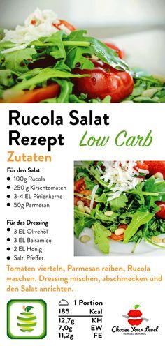 Rucola Salat Rezept - Choose Your Level™ - Internationale Salat Rezepte - Leckerer einfach, schnell zubereiteter Rucola Salat, rucola salat rezept, rucola rezepte, rucola ges - Healthy Grilling, Grilling Recipes, Healthy Cooking, Healthy Snacks, Easy Salads, Summer Salads, Grilled Side Dishes, Arugula Salad Recipes, Caprese Pasta