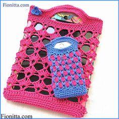 Tutorial #42: Bolso Porta Tablet + Forro para Celular a Crochet ~ CTejidas [Crochet y Dos Agujas]