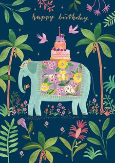 Over the Rainbow Greeting Card single Roger la Borde Over the Rainbow elephant birthday cake Card – illustrated by Rosie Harbottle Happy Birthday Vintage, Happy Birthday Wishes Cards, Happy Birthday Girls, Happy Birthday Pictures, Birthday Love, Birthday Greeting Cards, Birthday Quotes, Happy Birthday Friend Quotes, Happy Birthday Rainbow