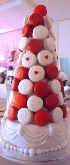 Valentine macaron tower