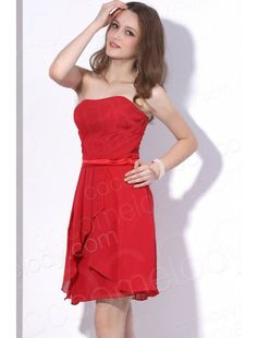 Strapless Short Mini Chiffon Red Party Dress